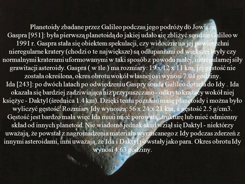 Planetoidy zbadane przez Galileo podczas jego podróży do Jowisza: Gaspra [951]: była pierwszą planetoidą do jakiej udało się zbliżyć sondzie Galileo w 1991 r.